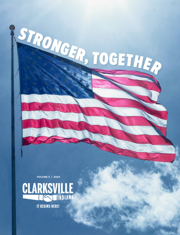 Clarksville Magazine Vol 3 - cover with USA flag - stronger together