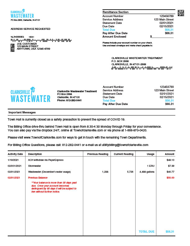 Wastewater Bill Example